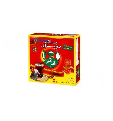 چای کیسه ای  ساده 100 عددی دو غزال